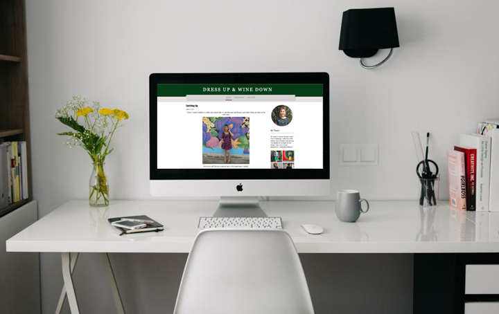 Desk with Blog displayed on Monitor
